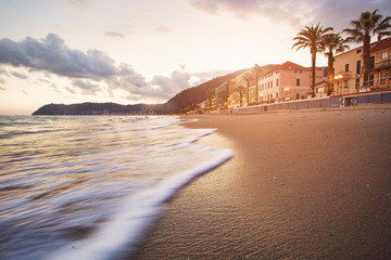 Motion view of sea on the beach with palmtrees, houses and mountains in the background