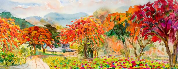 Autumn trees. Painting watercolor landscape