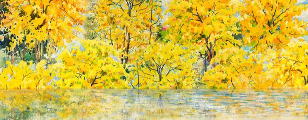 Autumn trees. Painting watercolor landscape.