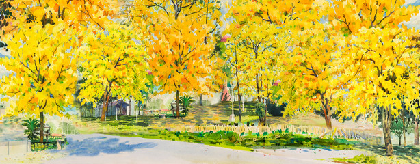 Autumn trees. Painting watercolor landscape.
