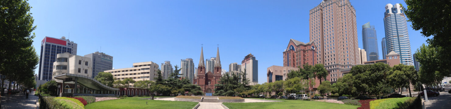 Cityscape - the square of St. Ignatius Cathedral, also referred to as Xujiahui Cathedral