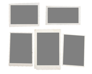 Old instant photos film isolated on white background
