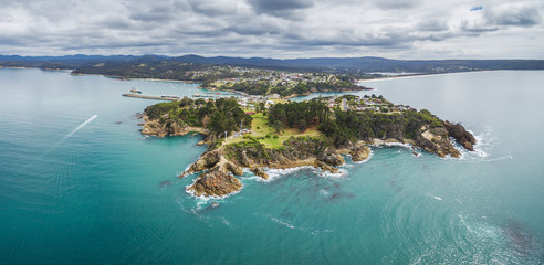 Aerial view of the lookout point where people watch for whales in Eden, NSW, Australia