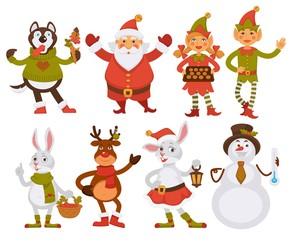 Christmas Santa friends cartoon characters vector icons winter holiday greeting card