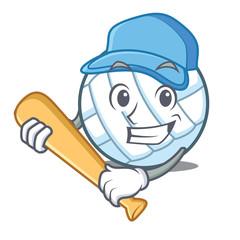Playing baseball volley ball character cartoon
