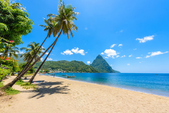 Paradise beach at Soufriere Bay with view to Piton at small town Soufriere in Saint Lucia, Tropical Caribbean Island.