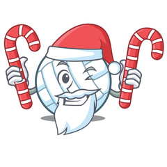 Santa with candy volley ball character cartoon