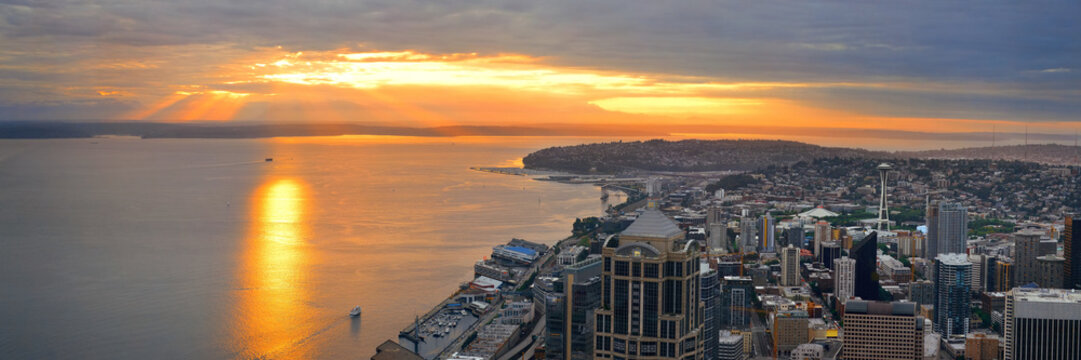 Seattle rooftop sunset