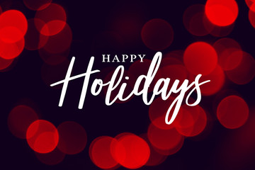 Happy Holidays Calligraphy with Red Duotone Bokeh Lights Background Fototapete