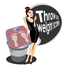Girl with weights scales vector isolated illustration for commercial weight loss