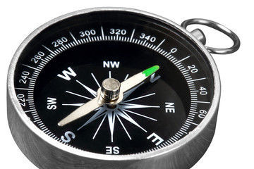 Old vintage retro compass isolated on white clipping path