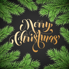 Merry Christmas trendy quote golden calligraphy on black premium background for winter holiday design template. Vector Christmas tree wreath decoration and golden lettering for New Year season