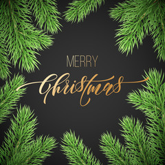 Merry Christmas trendy golden quote calligraphy font on black premium background for winter holiday design template. Vector Christmas tree for branch wreath decoration and golden New Year lettering