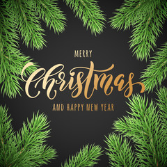 Merry Christmas and Happy New Year golden hand drawn quote calligraphy font on wreath ornament for holiday greeting card. Vector Christmas fir tree branch garland frame decoration background template