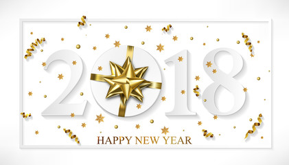 Vector 2018 Happy New Year white background with golden gift bow