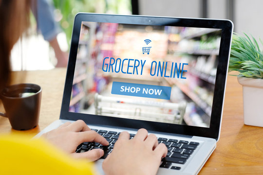 Woman hands typing laptop computer with grocery shopping online on screen background, business and technology, lifestyle concept