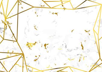Golden metallic frame over natural marble-like white halftone background