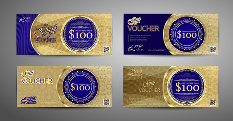 Luxury gift voucher template collection. Set of blue and gold coupon template. Vector