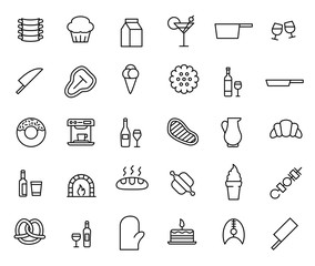 Simple collection of restaurant related line icons.