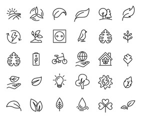 Simple set of ecology related outline icons.