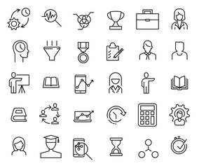 Set of premium business education icons in line style.