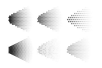 Vector spray halftone made of different symbols. Spray halftone set.