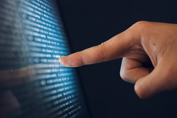 Hacking, monitor, hand, system binary code, computer, screen, programming, program
