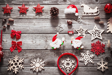 Christmas collection on old  wooden background