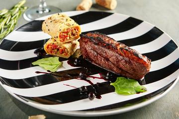 California Steak with Vegetable Strudel