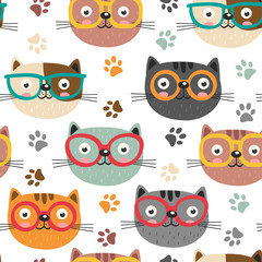 seamless pattern with cute faces cats  - vector illustration, eps