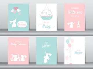Set of baby shower invitations cards, poster, greeting, template, animals, rabbit,cute vector,Vector illustrations