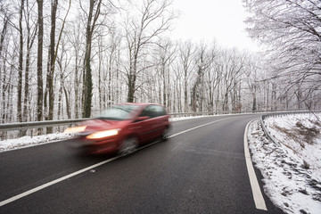 snowy road at wintertime