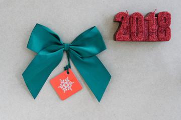 Green silk ribbon bow