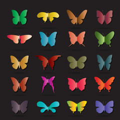 Vector group of colorful butterfly on black background. Butterfly icon. Insect. Animal Logo.