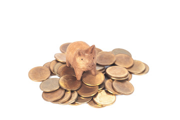 piggy wood toy on coin stack ,business concept