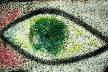 chalk drawing of an eye on a wall