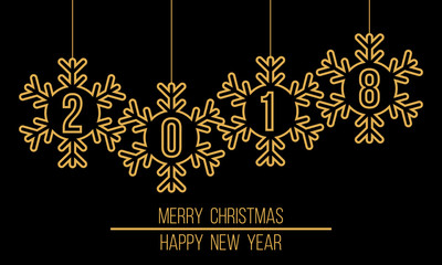 2018 in snowflakes decoration, Merry Christmas and Happy New Year poster