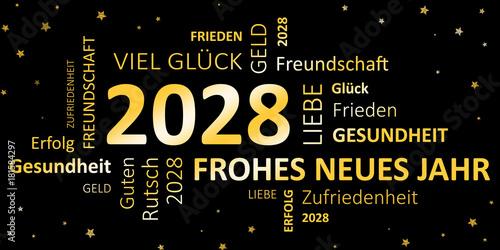 Glückwunschkarte Silvester 2028 - Guten Rutsch und ein frohes neues ...