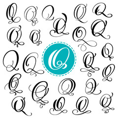 Set letter Q. Hand drawn vector flourish calligraphy. Script font. Isolated letters written with ink. Handwritten brush style. Hand lettering for logos packaging design poster