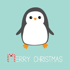 Merry Christmas Candy cane text. Kawaii Penguin bird icon. Cute cartoon baby character. Flat design Winter antarctica blue background. Greeting card.