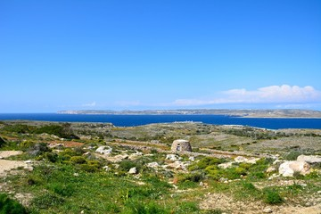 Views towards Gozo and Comino seen from the Red Fort, Mellieha, Malta.