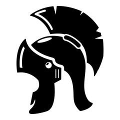 Roman helmet icon, simple black style