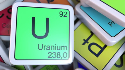 Uranium U block on the pile of periodic table of the chemical elements blocks. 3D rendering