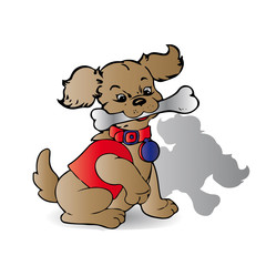 Brown dog with a bone in his teeth, with a collar in a red suit, cartoon on a white background,