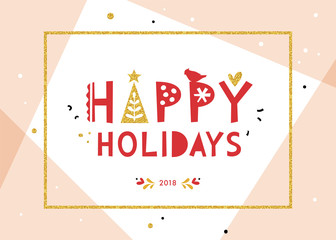 Happy Holidays background. Corporate greeting card with bold typographic design, red bird, golden glitter Christmas tree and frame.
