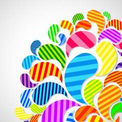 Bright striped colorful curved drops spray on a light background, color design, graphic illustration.