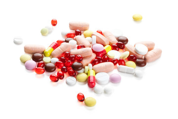 Red capsules and pills.