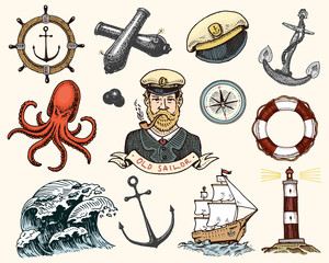 Marine and nautical or sea, ocean emblems. set of engraved vintage, hand drawn, old, labels or badges for a life ring, a cannon ball, a captain with a pipe. welcome aboard, two anchors, sailor.