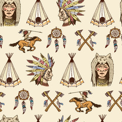 indian or native american. seamless pattern. axes and tent, Dreamcatcher and cherokee, tomahawk. set of engraved vintage, hand drawn, old, labels or badges.