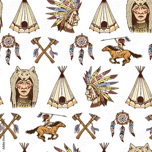 Indian Or Native American Seamless Pattern Axes And Tent Delectable Cherokee Indian Dream Catcher